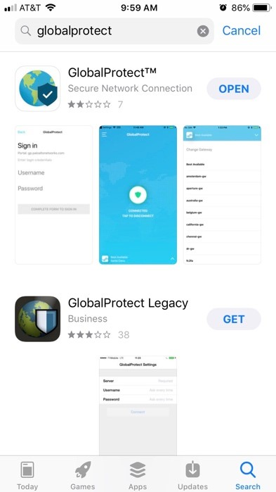 Screenshot of searching the AppStore for the GlobalProtect app