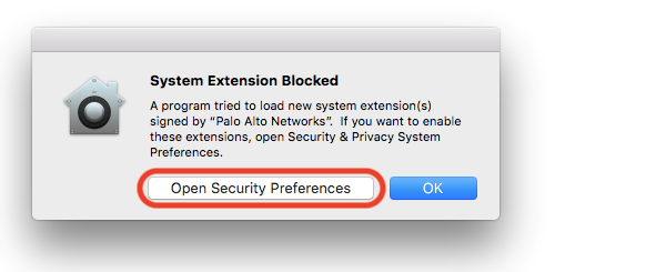 Screenshot of the MacOS System Extension Blocked dialog box