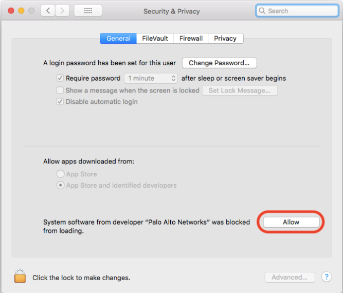 Screenshot of the Security Preferences dialog
