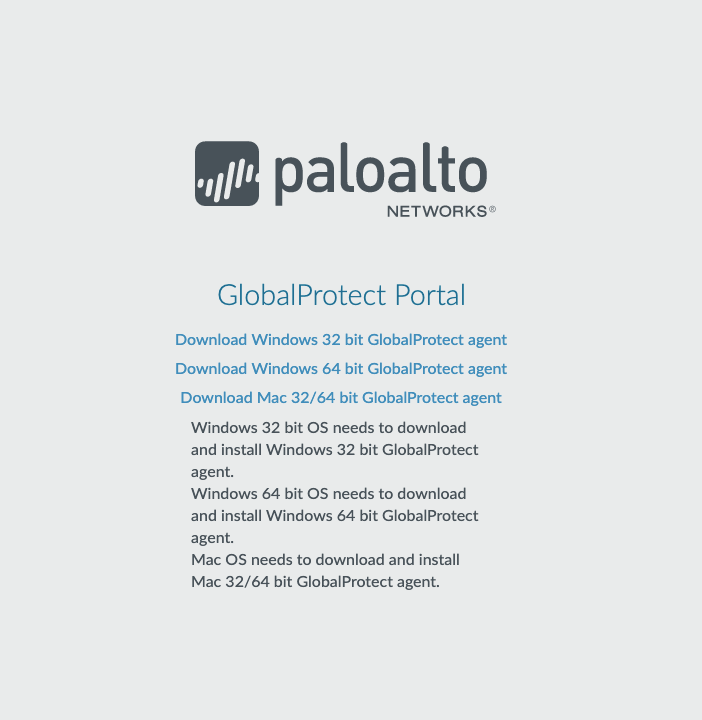 an image of the portal page used to download the Palo Alto application