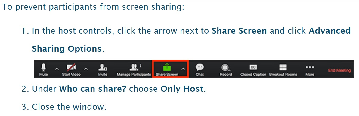 prevent participants from screen sharing