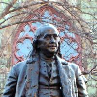 Face of Ben Franklin statue on Penn's College Green