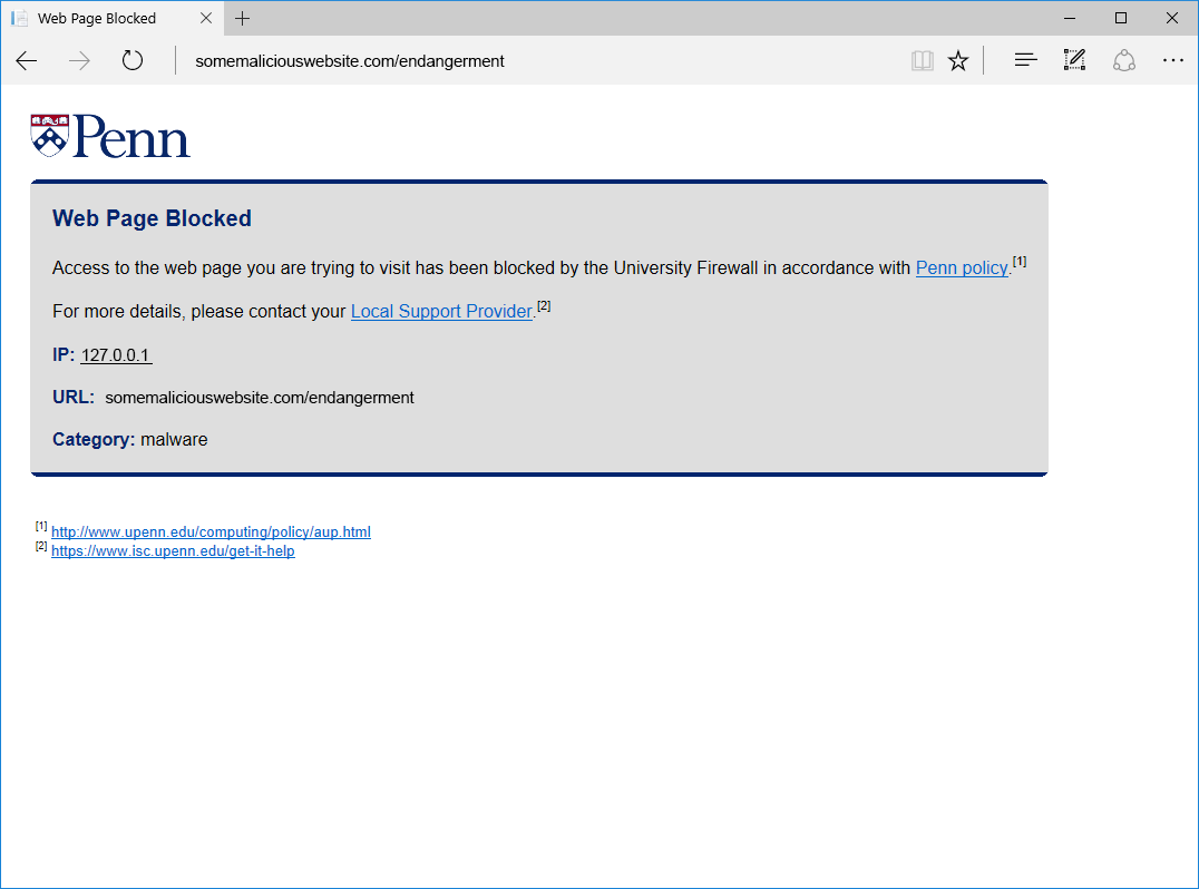 web browser blocked by University Firewall