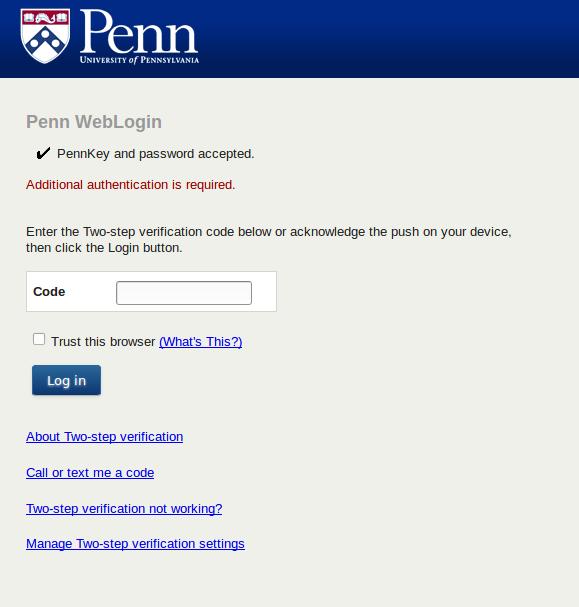 New Weblogin two-step interface